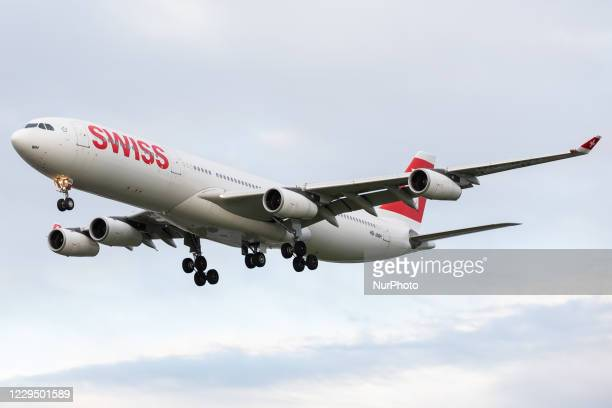 Swiss International Airlines Airbus A340 lands at London Heathrow Airport on 28th October 2020
