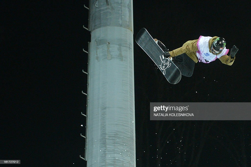 Swiss Iouri Podladchikov competes at the Snowboard World Cup Men's Final Halfpipe Test Event at the Snowboard and Freestyle Center in Rosa Khutor near the Black Sea resort of Sochi, on February 14,...