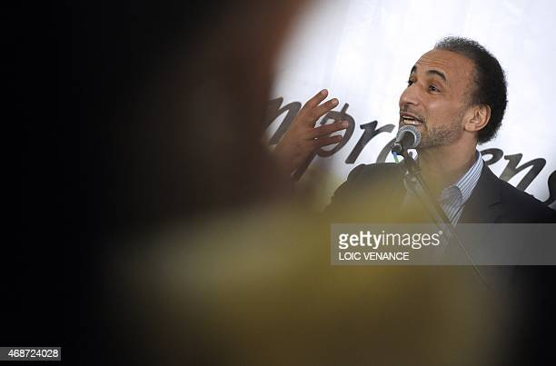 Swiss islam expert and university professor Tariq Ramadan gives a conference on April 6 2015 during the 32nd Annual Meeting of France's Muslims at Le...
