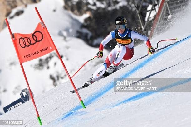 Swiss Lara Gut-Behrami competes in the Women's Super G event on February 11, 2021 during the FIS Alpine World Ski Championships in Cortina d'Ampezzo,...