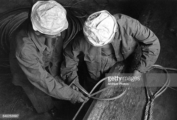 Swiss marines work in the port of Basel Switzerland Circa 1960