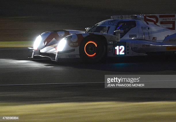 Swiss' Mathias Beche drives his Rebellion ROneAER N°12 during the first qualifying practice session of the 83rd Le Mans 24 hours endurance race on...