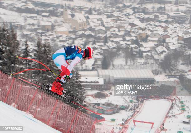 Swiss Mauro Caviezel skis in the men's third downhill training during the FIS Alpine World Cup in Kitzbuehel Austria on January 24 2019