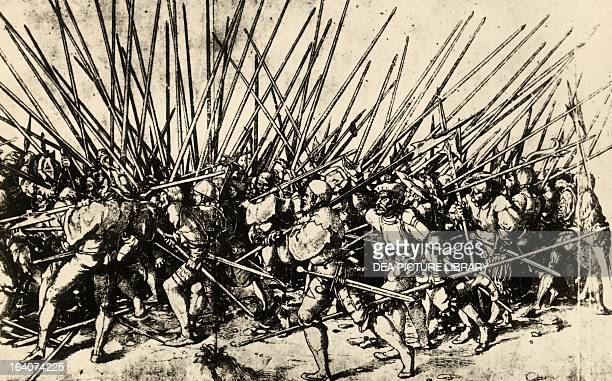 Swiss mercenaries in battle ca 1530 drawing by Hans Holbein the Younger Germany 16th century