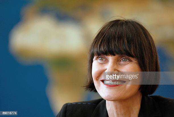Swiss Minister of Foreign Affairs Micheline Calmy-Rey smiles during a press conference on freed Swiss hostage Werner Greiner on July 14, 2009 at...