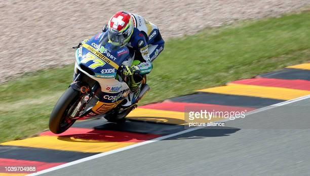 Swiss Moto GP rider Dominique Aegerter of Technomag Racing Interwetten Team in action during the free practice at the Sachsenring racing circuit in...
