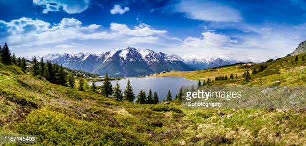 panorama suisse de montagne avec bettmersee en face du bàtlihorn et du fletschhorn - switzerland photos et images de collection