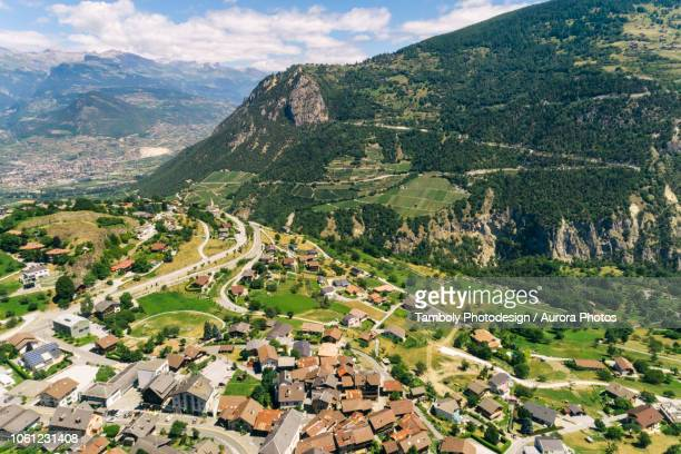 swiss mountain village in alps, sion, valais, switzerland - sion switzerland stock pictures, royalty-free photos & images