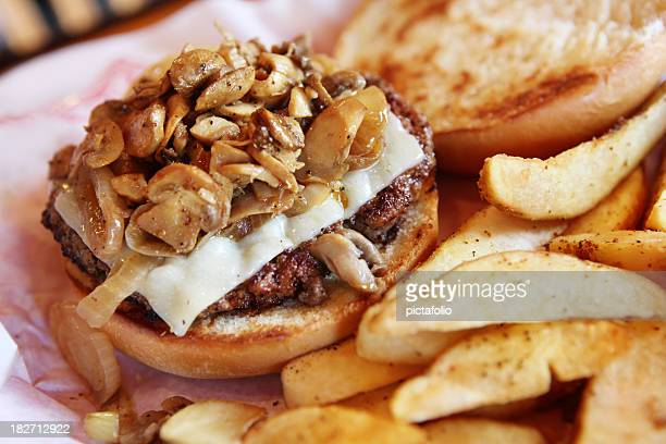 swiss mushroom burger - edible mushroom stock pictures, royalty-free photos & images