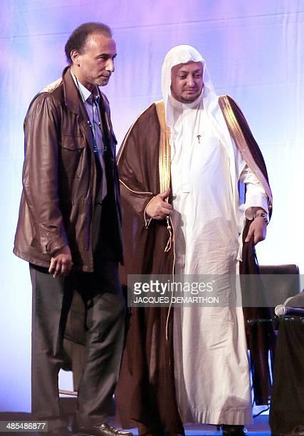 Swiss Muslim intellectual and professor Tariq Ramadan and Saudi Cheikh Ziad Elhadj attend the opening ceremony of the 31st annual meeting of the...