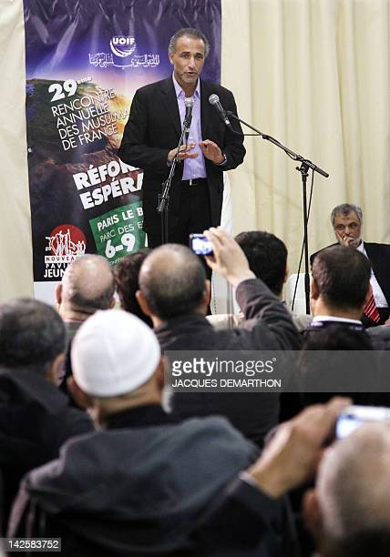Swiss Muslim intellectual and professor Tariq Ramadan speaks during the yearly meeting of French Muslims organized by the Union of Islamic...