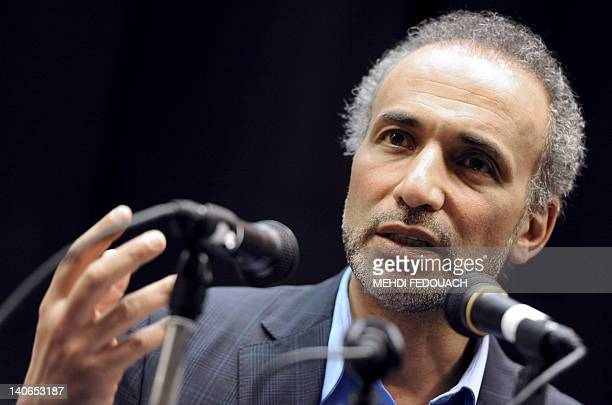Swiss Muslim intellectual and professor Tariq Ramadan speaks on March 4 2012 during a conference focused on 'Muslims of France and the electoral...