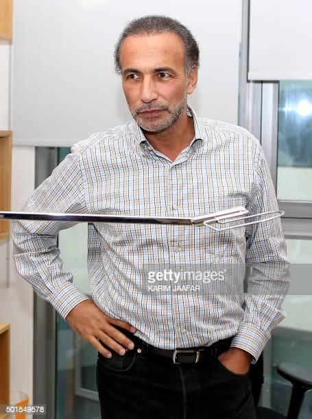 Swiss Muslim scholar Tariq Ramadan poses in his office at Qatar Foundation in the capital Doha on December 14 2015 Ramadan calls on Muslims in France...