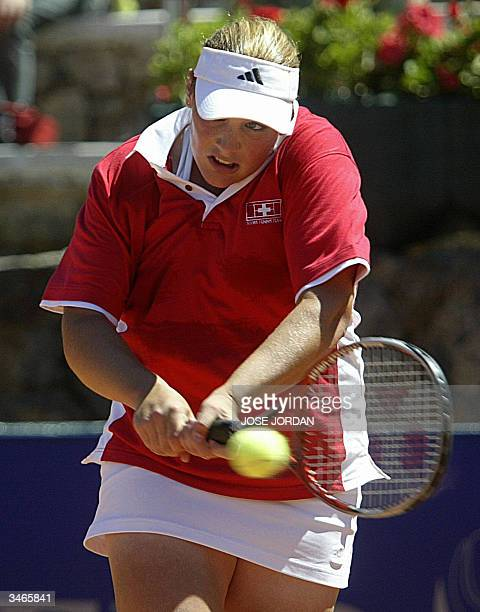 Swiss Myriam Casanova returns the ball to Spanish Marta Marrero during the four match of the Federation cup in La Manga Murcia 25 April 2004AFP PHOTO...