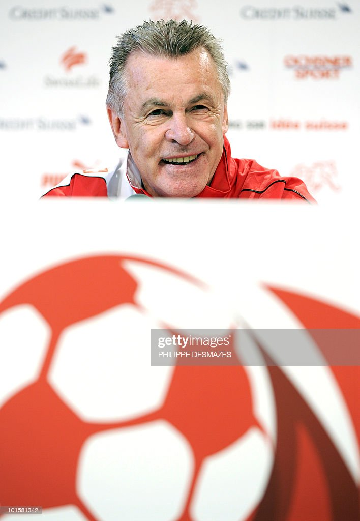 Swiss national football team coach Ottmar Hitzfeld of Germany gives a press conference on May 27, 2010 in Sierre near the Swiss Alpine resort of Crans Montana, where his squad is training ahead of the 2010 FIFA World Cup in South Africa.