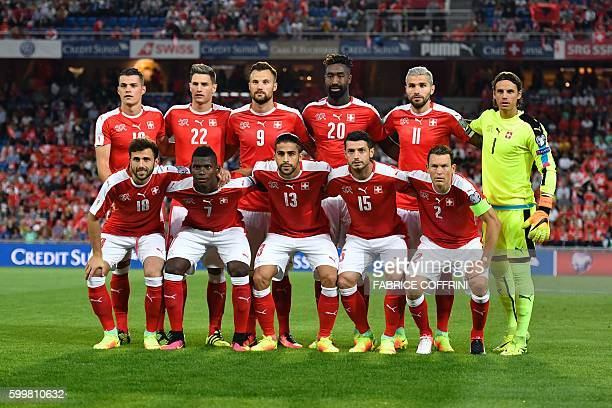 Swiss national football team players forward Admir Mehmedi forward Breel Embolo defender Ricardo Rodrigue midfielder Blerim Dzemaili and defender...