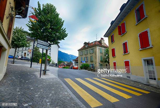 swiss old town in switzerland - montreux stock pictures, royalty-free photos & images