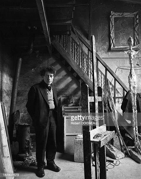 Swiss painter and sculptor Alberto Giacometti in his studio located rue Hippolyte Maindron in Paris France in 1957