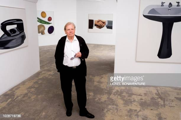 Swiss painter Peter Stampfli poses during a photo session on September 7, 2018 at the Georges-Philippe et Nathalie Vallois' art gallery in Paris. /...