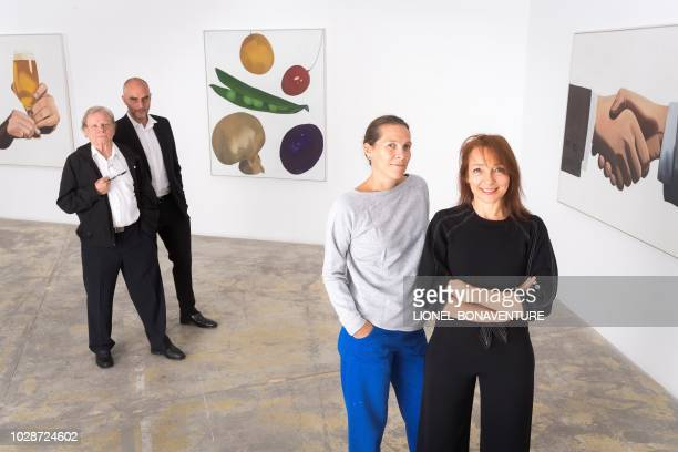 Swiss painter Peter Stampfli poses during a photo session on September 7 2018 in Paris at the GeorgesPhilippe et Nathalie Vallois' art gallery with...