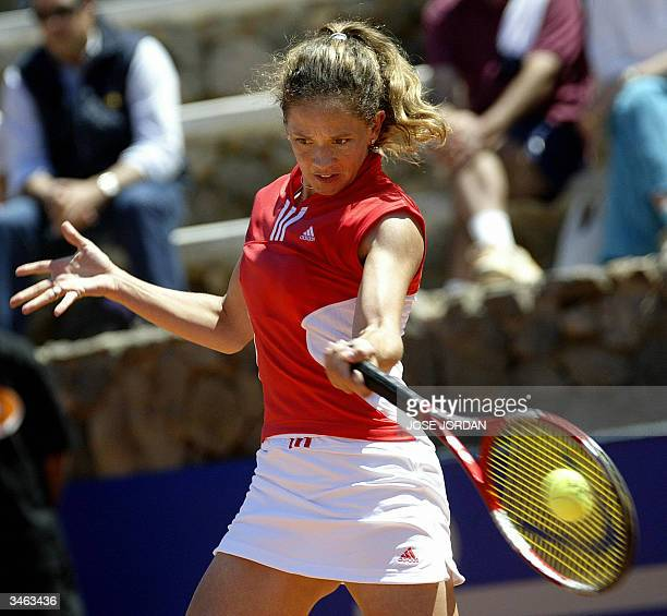 Swiss Patty Schnyder returns the ball to Spanish Marta Marrero during the first match of the Federation cup in La Manga Murcia 24 April 2004 Schnyder...