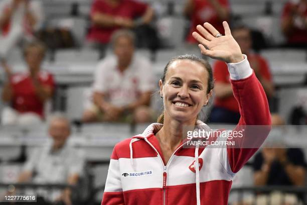 Swiss player Martina Hingis reacts during the ceremony of the Swiss Tennis Pro Cup exhibition tournament on July 25, 2020 in Biel.