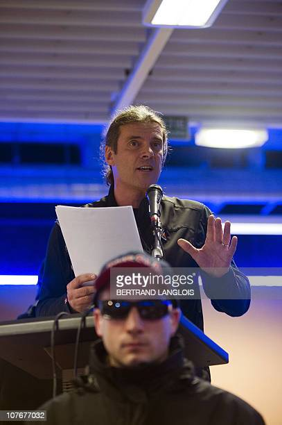 """Swiss politician of the Swiss People's Party Oskar Freysinger delivers a speech during the """"Assises contre l'islamisation de l'Europe"""" organised by..."""