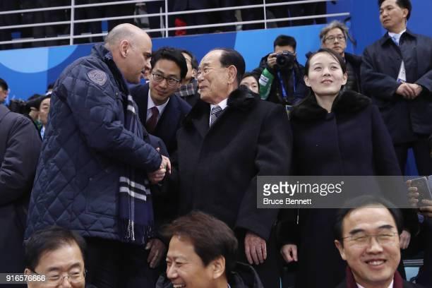 Swiss President Alain Berset shakes hands with North Korean ceremonial head of state Kim Yong Nam as Kim Yojong sister of North Korean leader Kim...