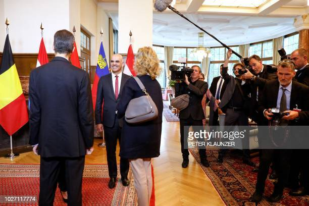 Swiss President Alain Berset welcomes Hereditary Prince Alois of Liechtenstein and Hereditary Princess Sophie of Liechtenstein prior to a meeting of...
