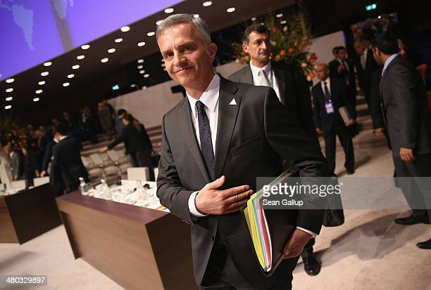 Swiss President Didier Burkhalter arrives for the opening plenary session of the 2014 Nuclear Security Summit on March 24 2014 in The Hague...