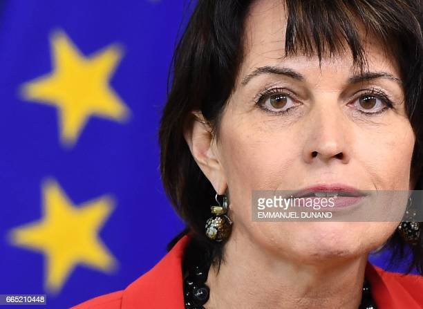 Swiss President Doris Leuthard addresses a press conference after meeting with European Commission President at the European Commission in Brussels...