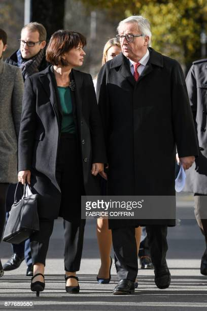 Swiss President Doris Leuthard and European Commission President Jean Claude Juncker walk in a street during his official visit focused on relation...