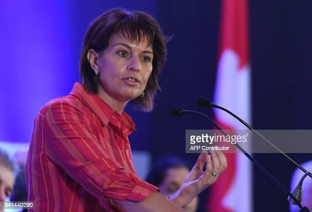 Swiss President Doris Leuthard delivers her speech during the IndoSwiss Business and Innovation Dialogue on the theme of digitalisation in New Delhi...