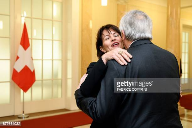Swiss President Doris Leuthard greets European Commission President Jean Claude Juncker unpon his arrival for an official visit on relation between...