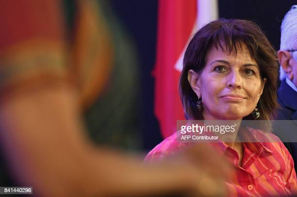 Swiss President Doris Leuthard listens to the speech of India Minister of State for Commerce and Industry Nirmala Sitharaman during the IndoSwiss...