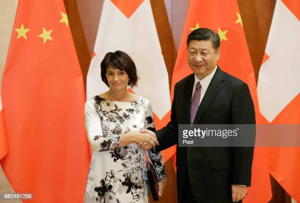 Swiss President Doris Leuthard meets Chinese President Xi Jinping ahead of the Belt and Road Forum in Beijing China May 13 2017