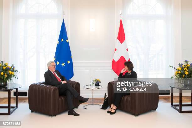 Swiss President Doris Leuthard speaks with European Commission President JeanClaude Juncker during his official visit focused on relation between...