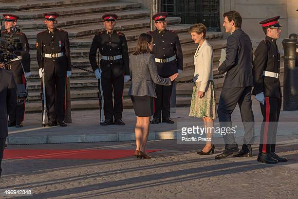 Swiss President Simonetta Sommaruga arrives at the Auberge de Castille in La Valletta, for the European Union - Africa Summit on Migration. The...
