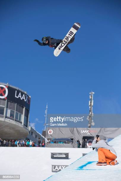 Swiss pro snowboarder Christian Haller's huge Method during the 2017 Laax Open halfpipe competition on 19th January 2017 in Laax Switzerland The Laax...