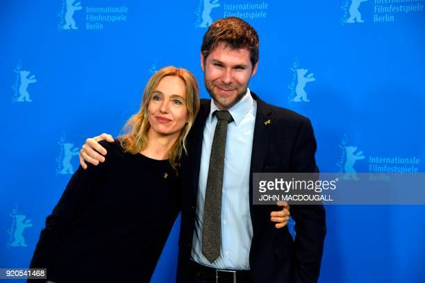 Swiss Producer Lionel Baier and Swiss actres Ursina Lardi pose during a photo call for the film 'Shock Waves Diary of My Mind' presented in in the...