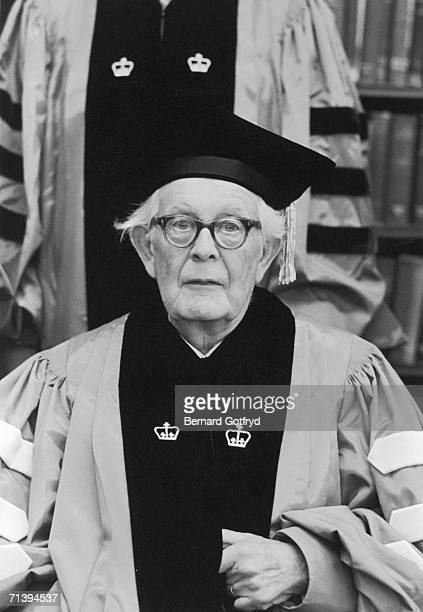Swiss psychologist Jean Piaget wears academic robes and poses for a photograph as he recieves an honorary degree from Columbia University Spring 1966...
