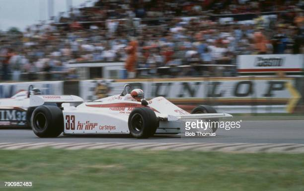 Swiss racing driver Marc Surer drives the Theodore Racing Team Theodore TY01 Cosworth V8 to finish in 11th place in the 1981 British Grand Prix at...