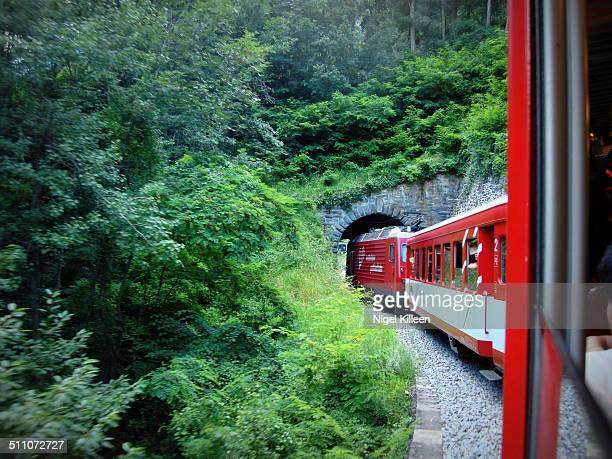 Swiss Railways train entering tunnel near Stalden Switzerland