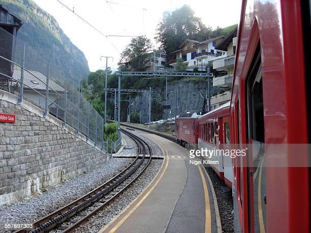 Swiss Railways train moving along near Stalden Switzerland