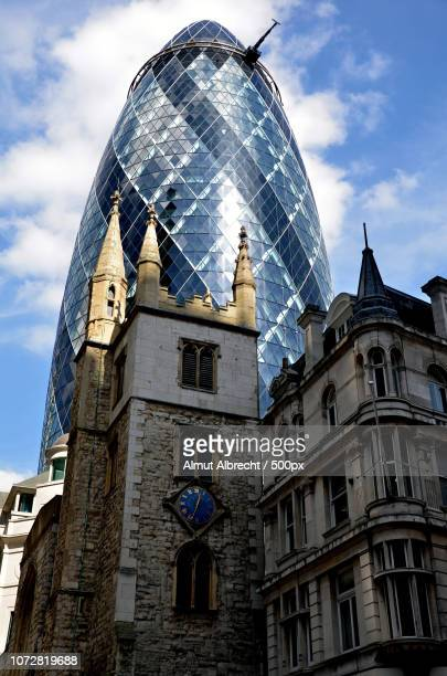 Swiss Re tower and church