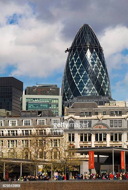 Swiss Re Tower by architect Norman Foster in the City of London in England