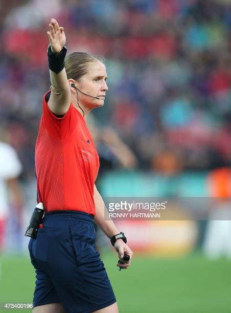 Swiss referee Esther Staubli is pictured during the UEFA Champions League women football match final Paris SaintGermain vs 1 FCC Frankfurt in Berlin...