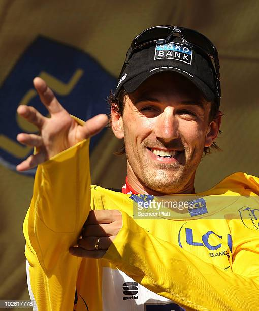 Swiss rider Fabian Cancellara of team Saxo Bank retained the race leader's yellow jersey following stage one of the Tour de France July 4, 2010 in...