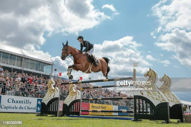 Swiss rider Jane Richard Philips, Longines ambassador, competes in the Master GROUPAMA during the Longines Global Champions Tour, at Hippodrome de...