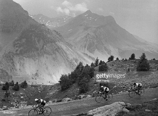 A swiss rider leads british riders Ken Mitchell and Freddie Krebs during the ninth stage of the Tour de France between Briancon and Monaco 15th July...